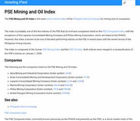 菲律宾证券交易所矿业和石油公司的主要股票市场指数